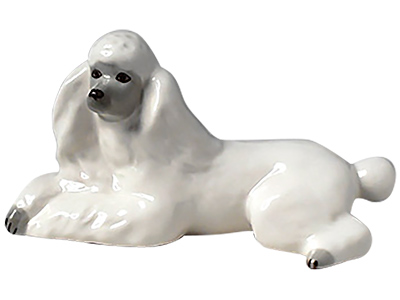 White Poodle Figurine Lying Down