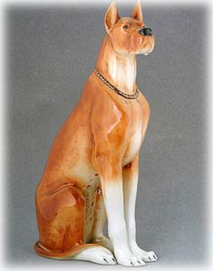 Sitting Fawn Great Dane Figurine