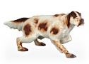 This dog figurine beautifully portrays the  Belton markings typically found on the English Setter hunting dog.