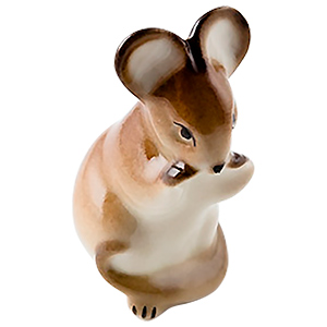 Brown Mouse Eating Figurine