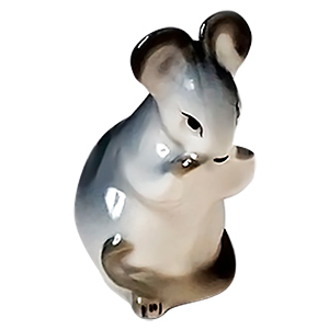 Gray Mouse Eating Figurine