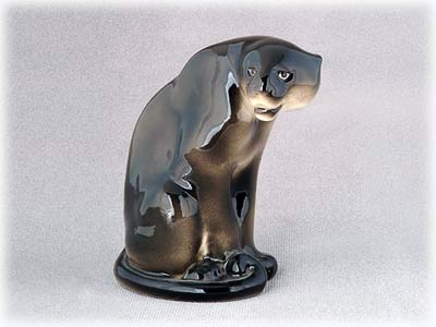Porcelain Black Panther Figurine