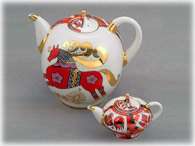 Red Horse Double Teapot