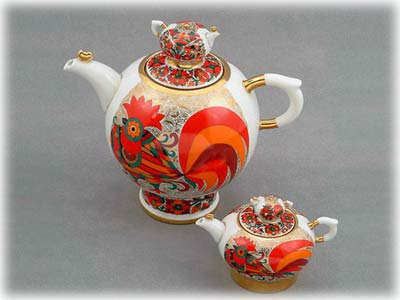 Red Rooster Double Teapot set; lge 6-cup; sm 1-cup