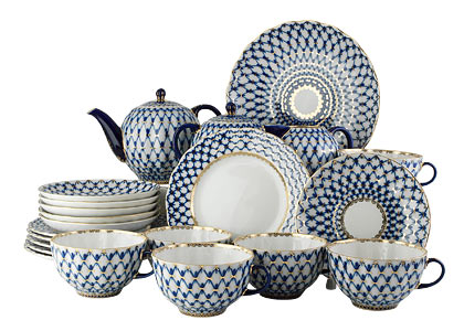 Cobalt Net 22pc. Tea Set for 6