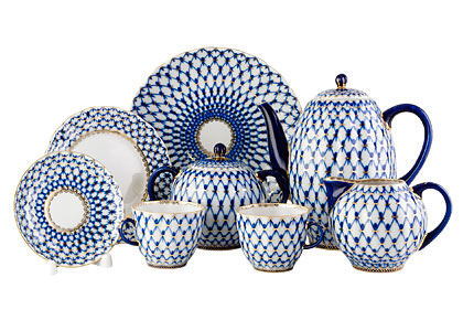 Cobalt Net Coffee Set 24 pcs