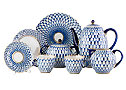 Cobalt Net Coffee Set 24 pcs - Lomonosov Porcelain