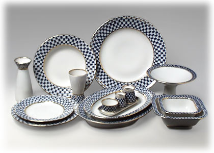 Cobalt Net Dinner Set for 6, 33 pcs