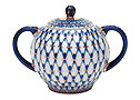 Cobalt Net Sugar Bowl - Lomonosov Porcelain