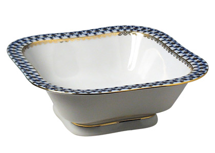 Cobalt Net Porcelain Square Bowl 7
