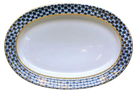 Cobalt Net Oval Platter Small