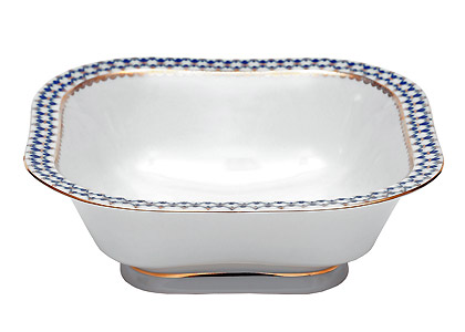 Cobalt Net Square Bowl Large 9