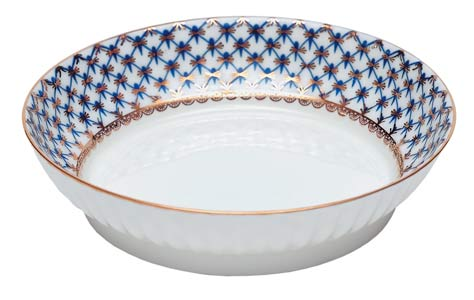 Cobalt Net Bone China Ruffled Cake Dish