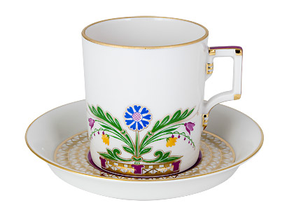 Moscow River Flowers Porcelain Cup & Saucer