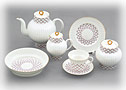 Pink Net Tea set, 22 pcs, Bone China - Lomonosov Bone China