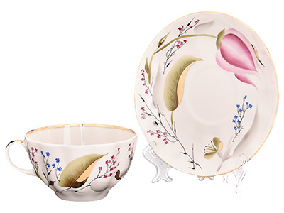 Pink Tulips Tea Cup with Saucer