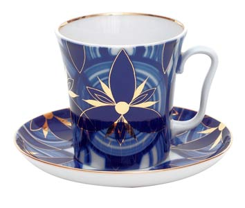 Cobalt Petals Mug and Saucer