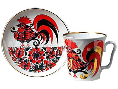 Red Rooster Mug and Saucer