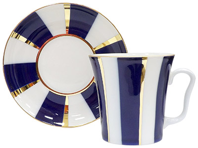 Cobalt Stripes Mug and Saucer