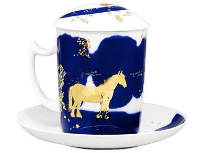 Night Horses Covered Mug and Saucer