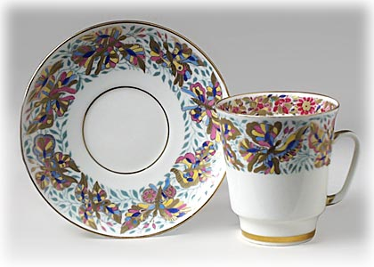 Flowered Butterfly Cup and Saucer, Bone, May-shaped