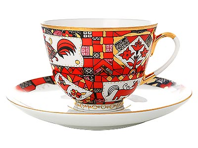 Red Horse Tea Cup and Saucer