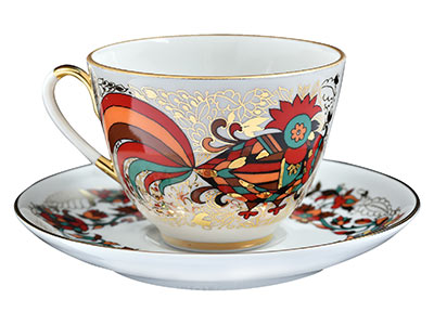 Red and Gold Rooster Cup and Saucer