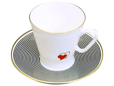 Valentine Hearts Espresso Cup and Saucer