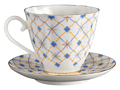 Blue Carnation Retro Bone China Coffee Cup and Saucer