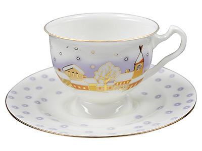 Snowfall Bone China Tea Cup and Saucer