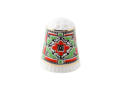 Red Ornament Porcelain Thimble