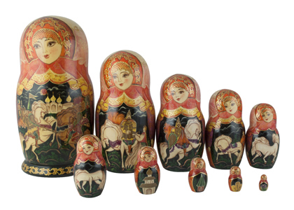 Russian Knights Nesting Doll 10pc./11