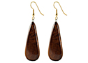 Black Sea Jewlery Earrings, teardrop shaped and made from beautiful hard wood