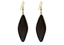 Black Sea Earrings Wooden Glossy Diamond