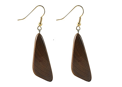 Black Sea Wooden Earrings Asymmetrical