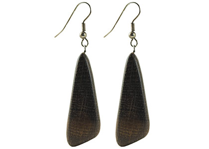 Crimean Dark Asymmetrical Wooden Earrings