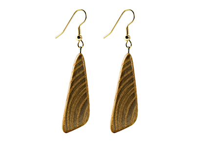 Black Sea Wooden Earrings Asymmetrical Light