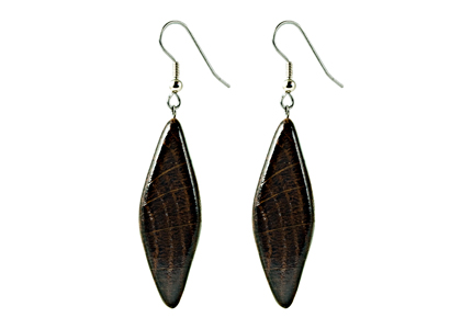Black Sea Earrings Wooden Textured Diamond