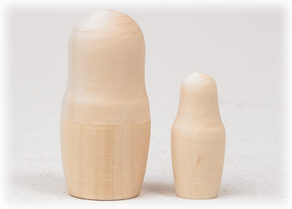 "Buy Unpainted Blank Nesting Doll 2pc./3""  at GoldenCockerel.com"
