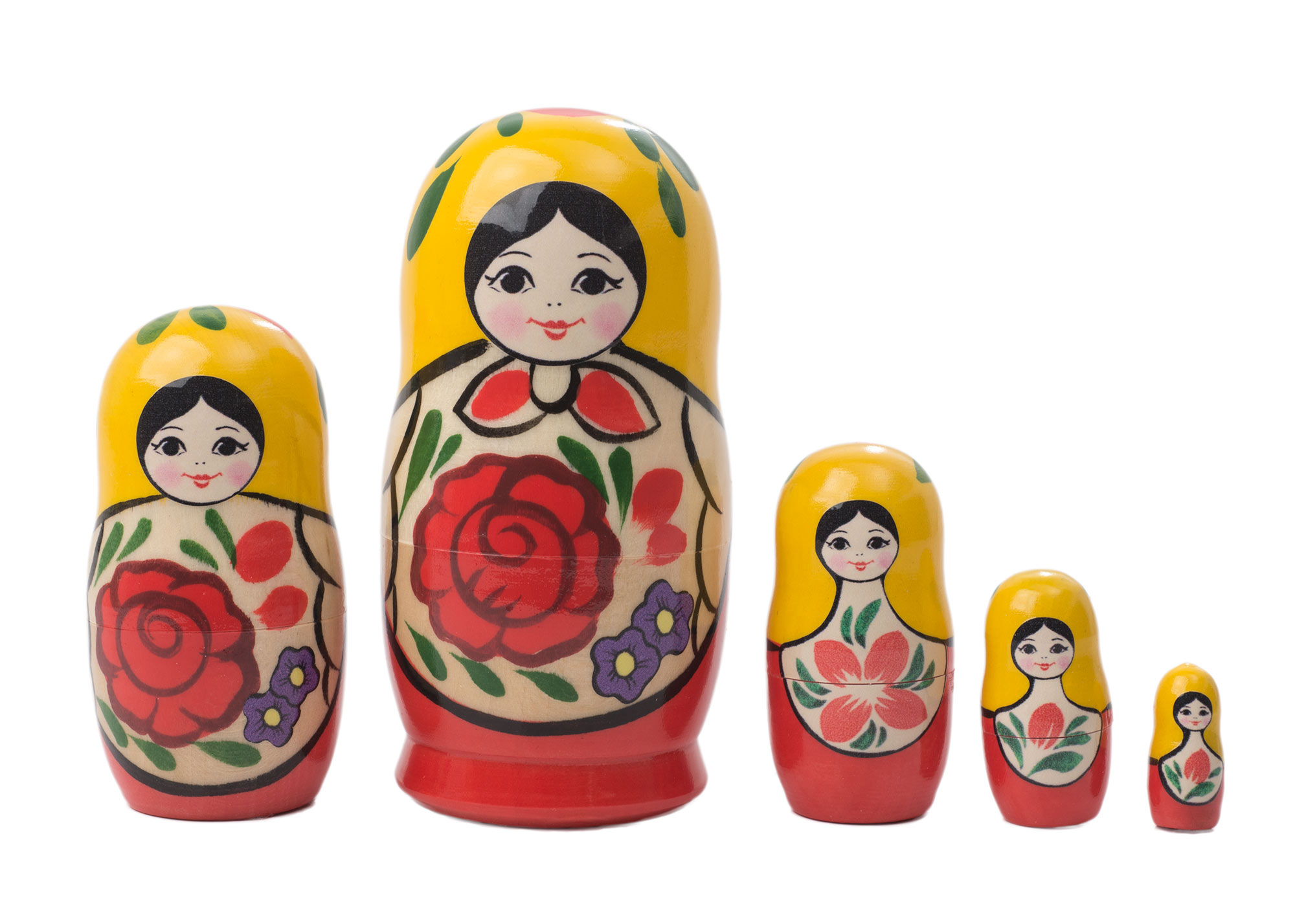 "Buy Traditional Nesting Doll w/ Rose 5pc./4"" at GoldenCockerel.com"