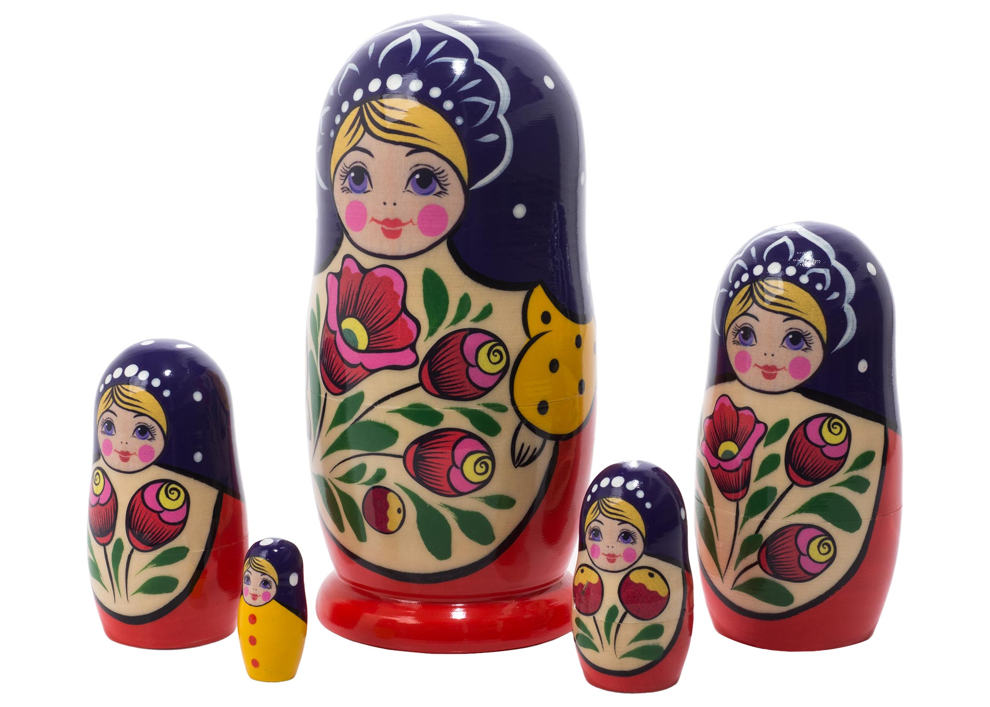 "Buy Volga Maiden Nesting Doll 5pc./6"" at GoldenCockerel.com"