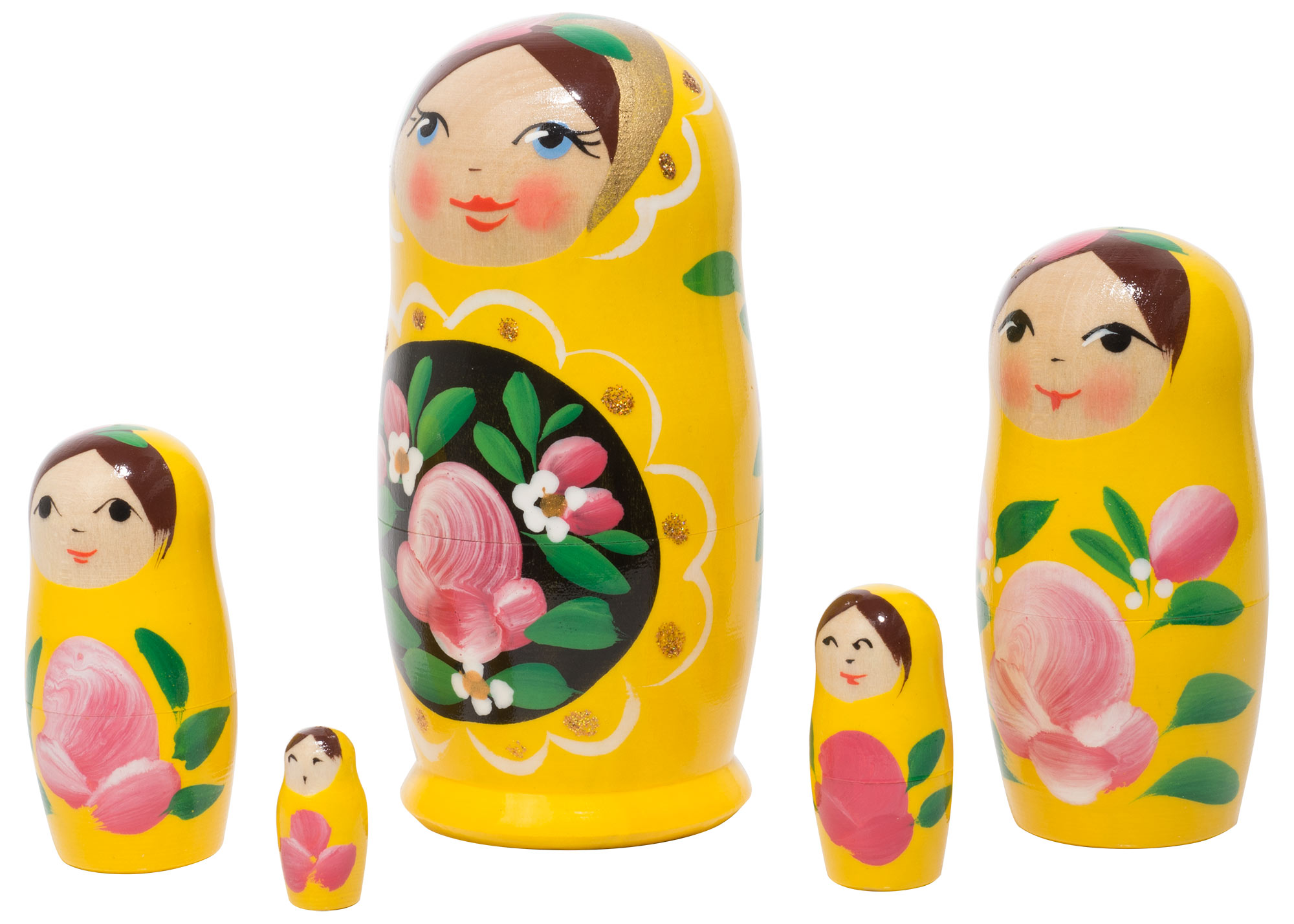"Buy Yellow Art Nesting Doll 5pc./4"" at GoldenCockerel.com"