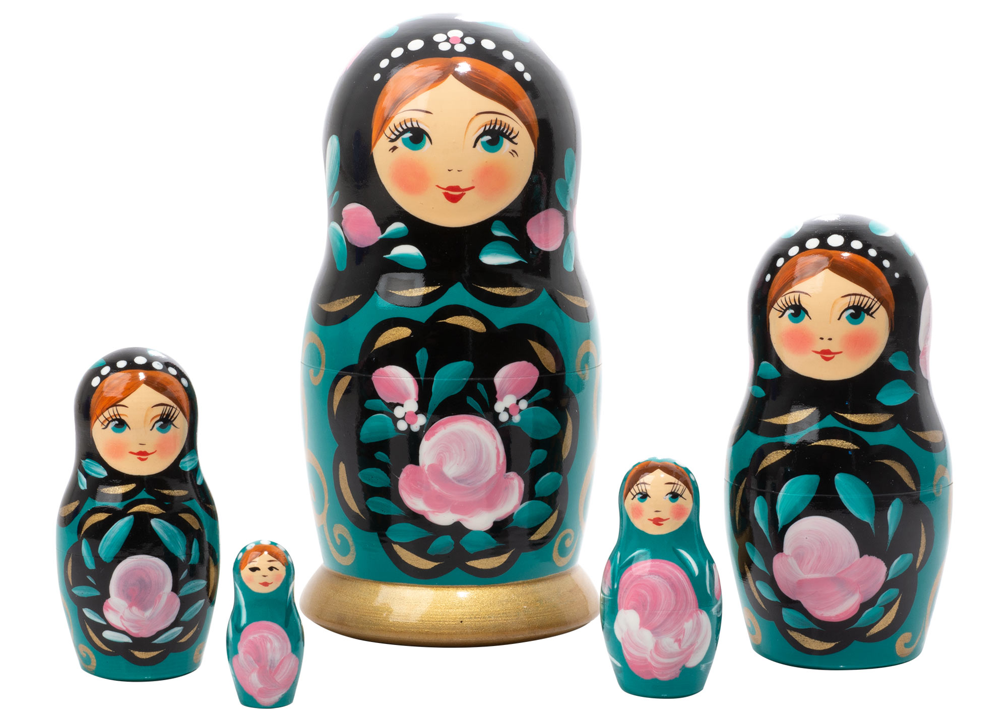 "Buy Teal Classical Art Nesting Doll 5pc./6"" at GoldenCockerel.com"