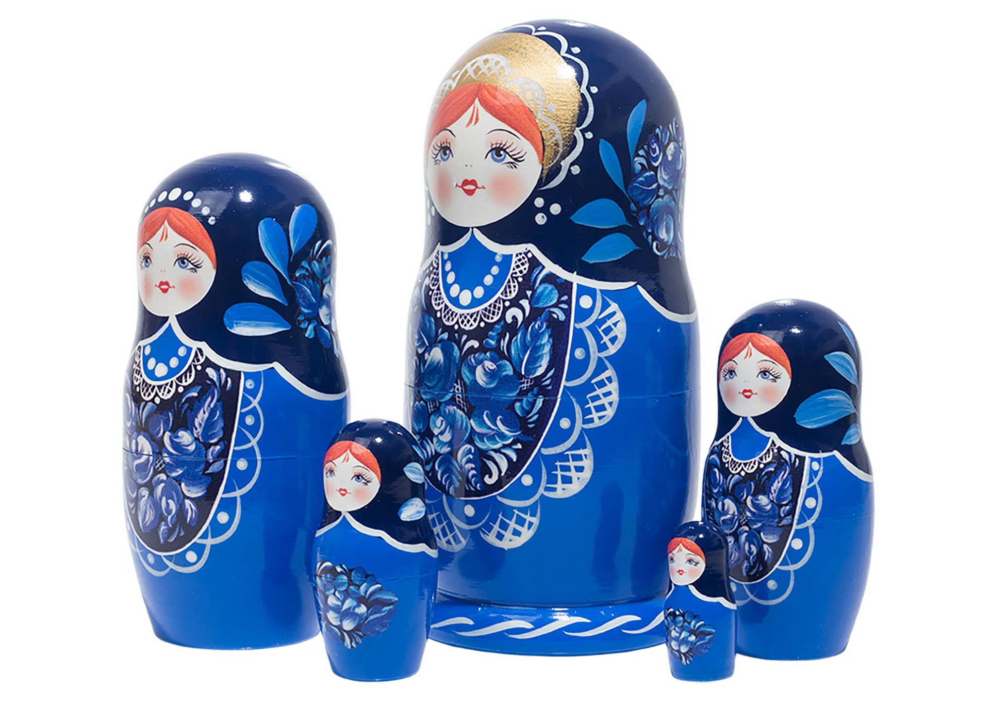 "Buy Blue Beauty Nesting Doll 5pc./6"" at GoldenCockerel.com"