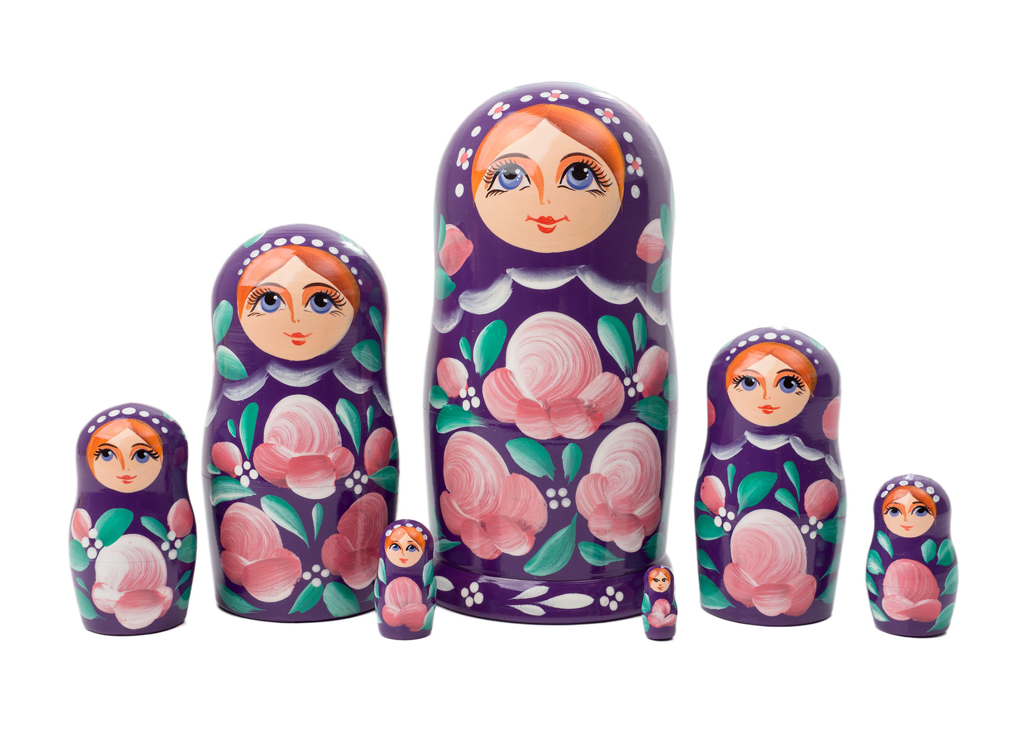 "Buy Plum Floral Art Matreshka Doll 7pc./6"" at GoldenCockerel.com"