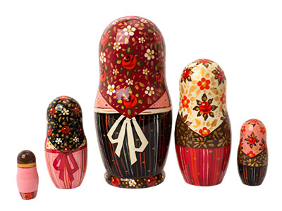 "Buy Rooster Girl in Pink Nesting Doll 5pc./7"" at GoldenCockerel.com"