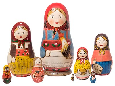 "Peasant Matriarch Doll 8pc./7"" - The First Nesting Doll"