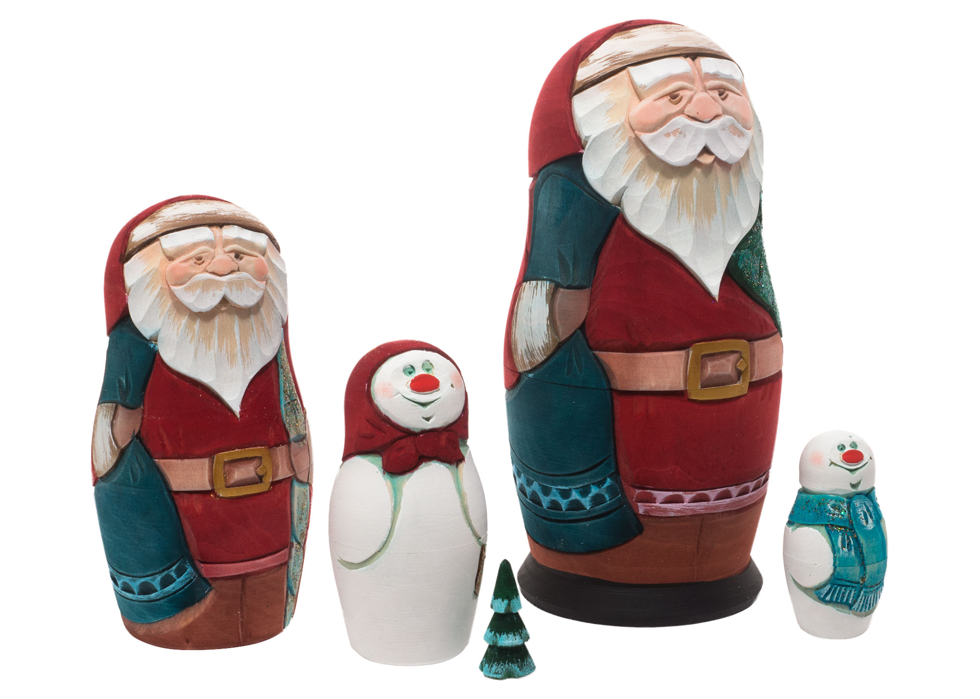 "Buy Carved Christmas Nesting Doll 5pc./6"" at GoldenCockerel.com"