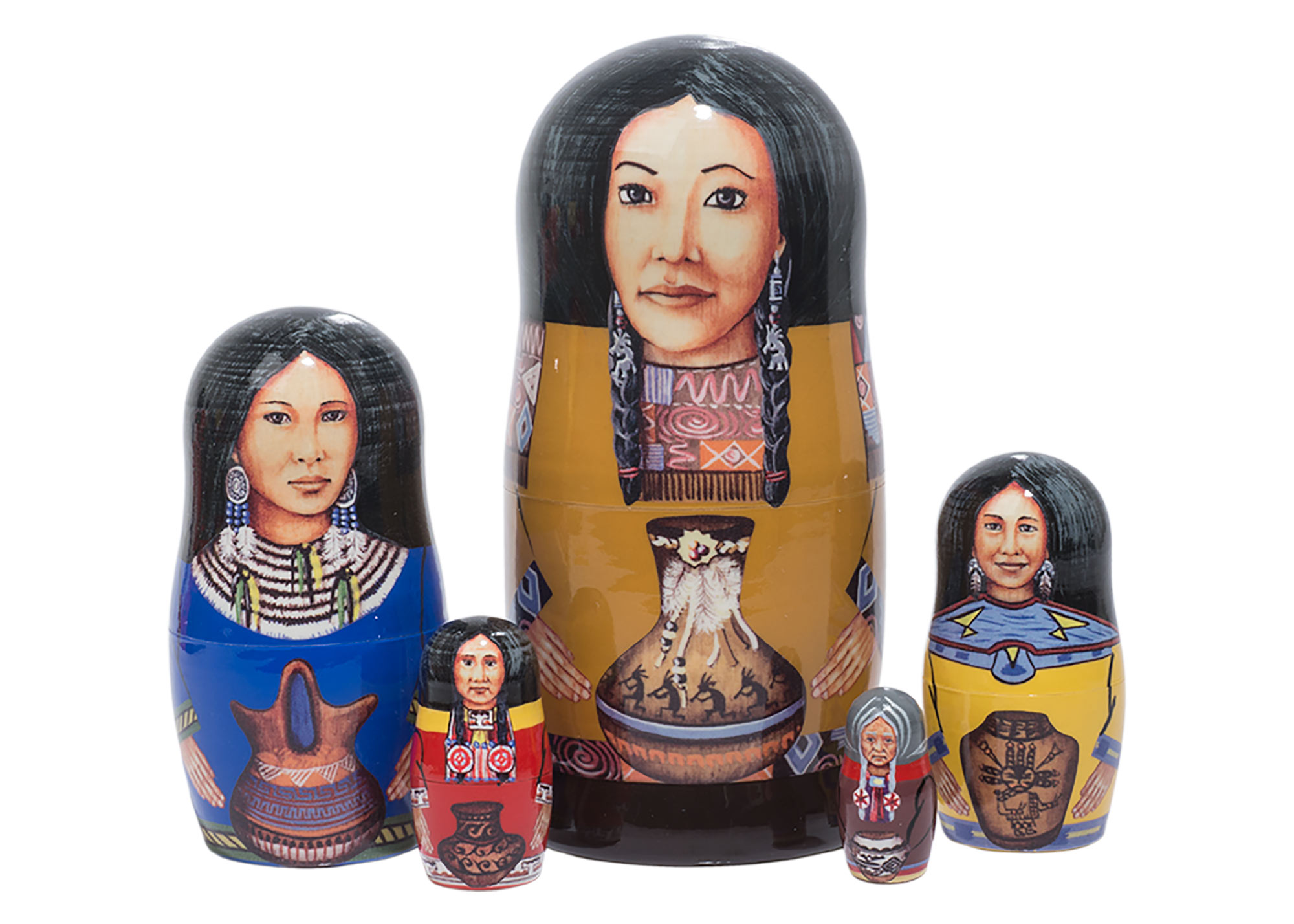 "Buy Indian Princesses Nesting Doll 5pc./5"" at GoldenCockerel.com"