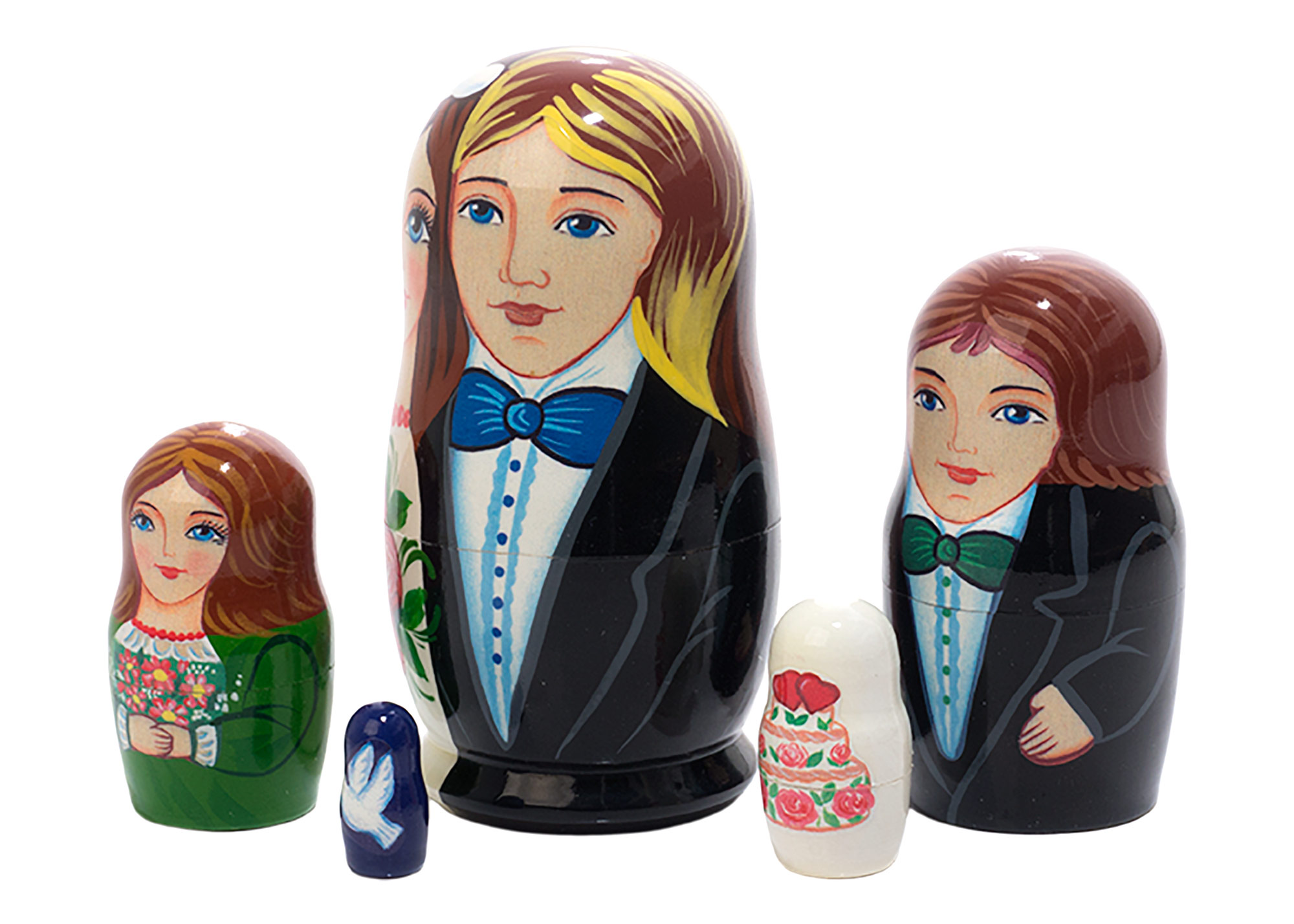 "Buy Wedding Favor Nesting Doll 5pc./4"" at GoldenCockerel.com"